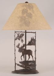 Brown Metal Moose Lamp