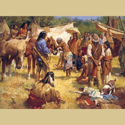 The Horse Doctor and His Medicine Bag at Rendezvous by Howard Terpning