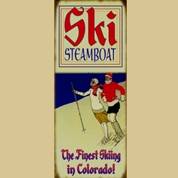 Old Fashioned Skiing Couple  Sign