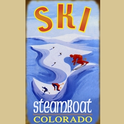 Icy Blue Skiing Sign