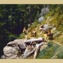 Trail in Bitterroots by Howard Terpning
