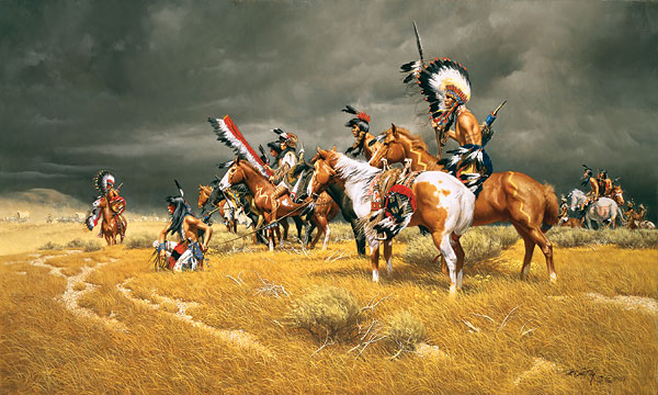 Watching the Wagons by Western Artist Frank McCarthy