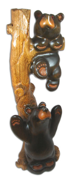 Austin and Ella Baby Bears Wood Carving