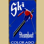 Royal Blue and Red Ski Sign