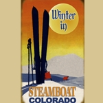 Winter Sunset Ski Sign