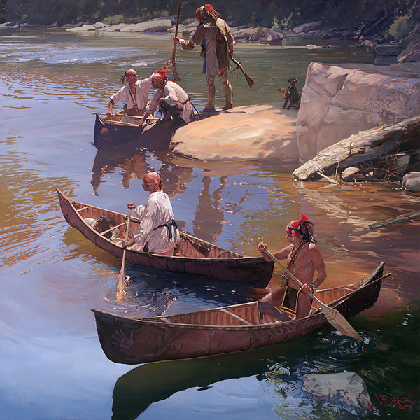The Agile Bark Canoe by Western Artist John Buxton