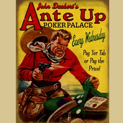 Pulp Western Gambling Sign