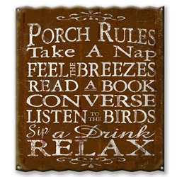 Porch Rules - Corrugated Metal Sign